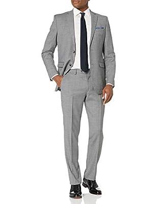 Original Penguin Men's Slim fit, 2pc Suit with Finished Bottom Hem, Grey Solid, 44 Regular from Original Penguin