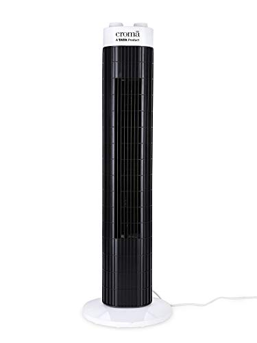 Croma 45 Watts Air Tower Fan with Copper Motor, 2 Years Warranty (CRAF0028, Black & White)