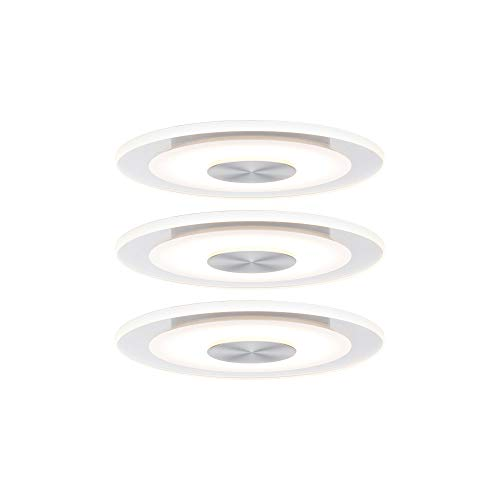 Paulmann 92907 Einbauleuchte LED Whirl rund Einbaustrahler 3x5,5W Deckeneinbauspot Alu Satin Einbaulampe Einbaulicht dimmbar Deckeneinbauleuchte