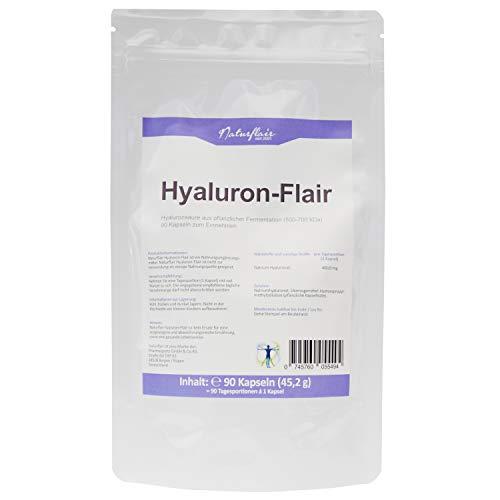 Hyaluronsäure Kapseln - Hochdosiert mit 400 mg. 90 Stück (3 Monate). Hyaluron aus Fermentation mit 500-700 kDa (mikro-molekular).
