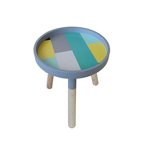 CVHOMEDECO. Portable élégant Table basse ronde en bois amovible avec accents de petite table Ckd Table d'appoint avec 3 amovible Legs. Dia.29,8 cm X H34,9 cm