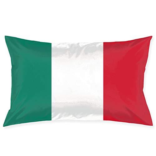 Bandera de Italia Italia Italiano Il Tricolore 100% Fibra de poliéster Sueño de Belleza, Debido a una Funda de Almohada para el Cabello y la Cara saludables 14 Pulgadas * 20 Pulgadas