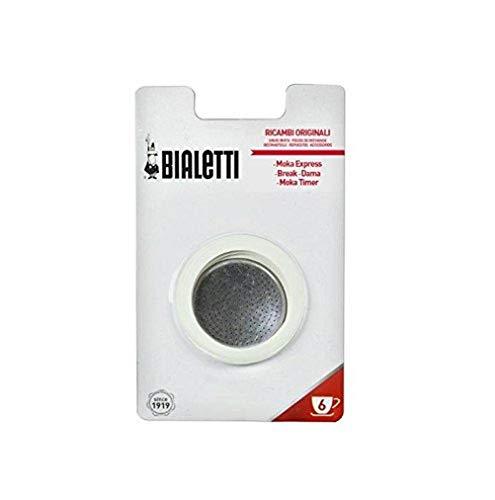 Bialetti - 109743 - 3 Dichtungen + 1 Aluminium-Mikrofiltergitter Für facettierte Aluminium-Kaffeemaschine - 6 Tassen