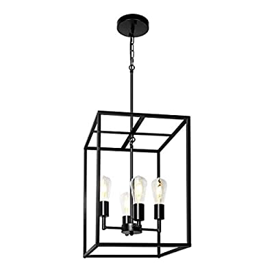 Z-LIGHT 4-Light Chandelier, Black Industrial Lighting Fixture Farmhouse Rustic Pendant Light for Dining Room, Kitchen Island, Hallway