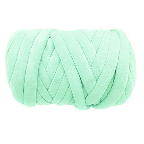 Super Vegan Velvet Chunky Yarn, Acrylic Bulky Thick Roving Washable Softee Jumbo Tubular Yarn for Arm Knitting Home décor Projects Blankets Rugs Making Garments (1 LBS / 21 Yards, Mint)