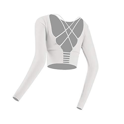 Delisouls Camiseta deportiva acolchada para mujer, manga larga, sin espalda, camiseta de gimnasio con agujero para el pulgar