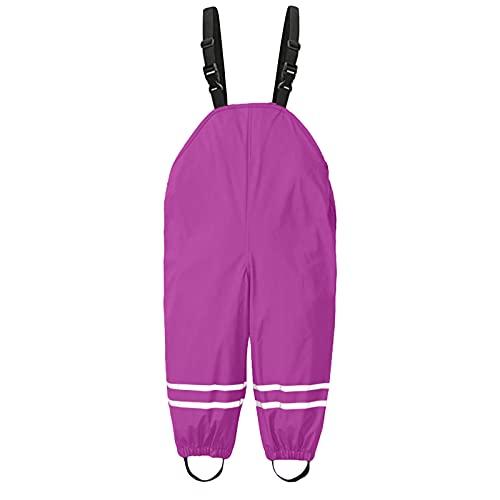 DXDE Unisex Kinder Regenlatzhose,Regenhose,Wind- und wasserdichte,Schlammhose zum Spazierengehen, Reisen, Wandern Regenhose für Mädchen Jungen,Pink,116