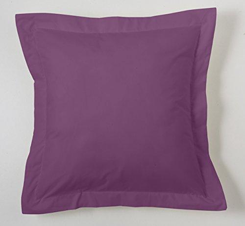 ESTELA - Funda de cojín Combi Lisos Color Berenjena - Medidas 55x55+5 cm. - 50% Algodón-50% Poliéster - 144 Hilos - Acabado en pestaña