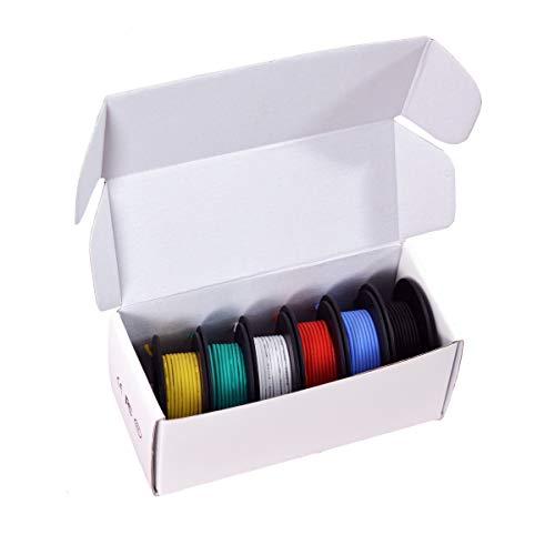 Elektronik Kabel set - KALULU 26 AWG Haken Draht-Kit Flexible Silikonkabel 3000V Isolierdraht-hohe Temperaturbeständigkeit (6 verschiedene farbige 10M Spulen) (26AWG)