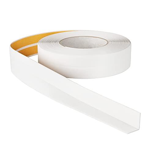 ProfiPVC Weichsockelleiste - Abschlussleiste 18x18mm 10 Meter für Küche und Badezimmer, selbstklebendes Dichtungsband aus PVC, flexible Knickleiste, Fugendichtungsband, weiss