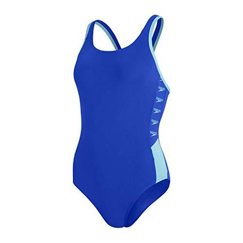 Speedo Boom Logo Splice Muscleback Damen Badeanzug, Blue Flame/Light Adriatic, 38 (DE 42)