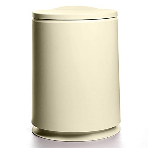 MotBach Bote de Papel de Basura de Bote de Basura, Estilo Minimalista nórdico y Tapa Push-on, Sala de baño de Sala (Color : Beige)