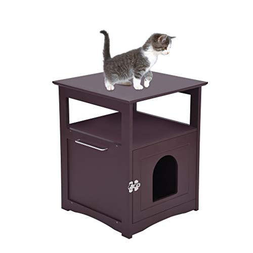 YOMXL Nightstand Pet House, Litter Box Furniture Indoor Pet Crate, Litter Box Enclosure, Cat Washroom (Coffee)