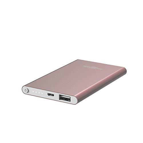 ANSMANN Powerbank 4.000 mAh roze aluminium behuizing - Power Bank oplader met LED-display voor smartphone en tablet - externe accu, 4.000mAh, rosé