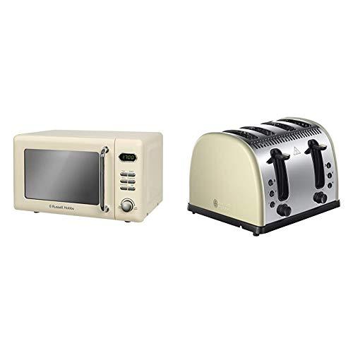 Russell Hobbs RHRETMD706C 17L Retro Digital 700w Solo Microwave Cream & 21302 Legacy 4-Slice Toaster, Stainless Steel, 2400 W, Cream