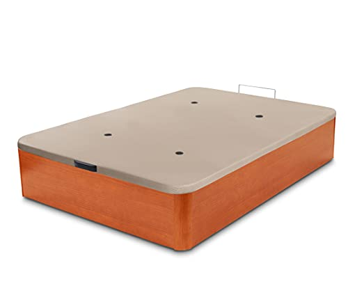 Dormidán - Canapé abatible de Gran Capacidad con Esquinas Redondeadas en Madera, Base tapizada 3D Transpirable + 4 válvulas aireación 135x190cm Color Cerezo