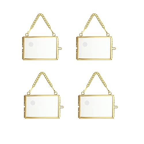 SUMTREE 4 marcos de fotos mini rectangulares de metal y cristal, para colgar fotos, adornos geométricos, clip de muestra, para flores prensadas, fotos (dorado)