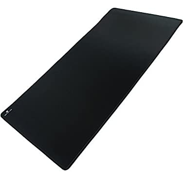 "Reflex Lab Large Extended Gaming Mouse Pad Mat XXL, Stitched Edges, Waterproof, Ultra Thick 5mm, Wide & Long Mousepad 36""x12""x.20  Black"