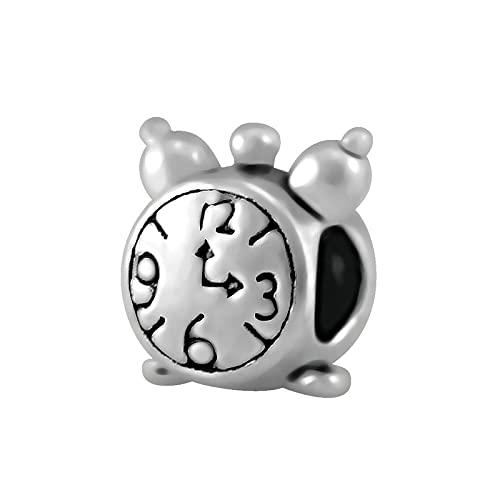 Auténtico Pandora 925 Colgante De Plata Esterlina Diy Piezas Clásico Retro Reloj Despertador Cuentas Fit Bead Charms Pulsera Fabricación De Joyas De Moda Para Mujeres