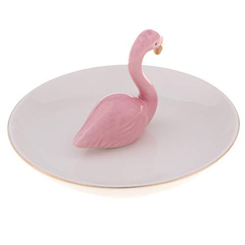 Milageto Expositor para collar con expositor para collar, bandeja para joyas, organizador de cerámica Blanco Plato Rosa Flamenco