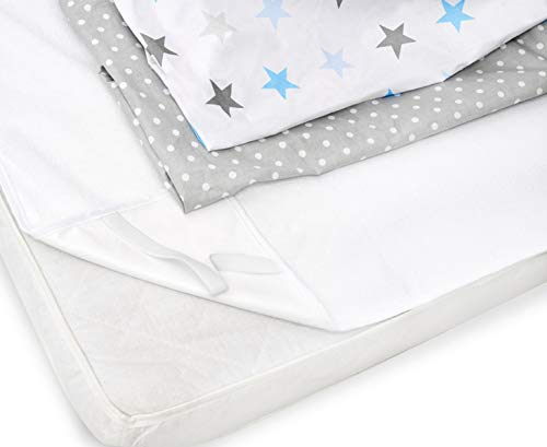 Peek-A-Boo 2 Fitted Cot Sheets + 1 Waterproof Mattress Protector,120 x 60...