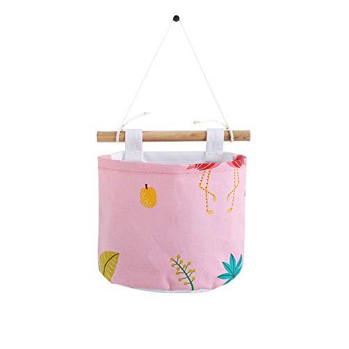 Demarkt 1pcs Rangement Tenture Murale Sac de Rangement Chevet Rouleau Papier Toilette Seau Suspendu Panier (Rose 15 * 20cm