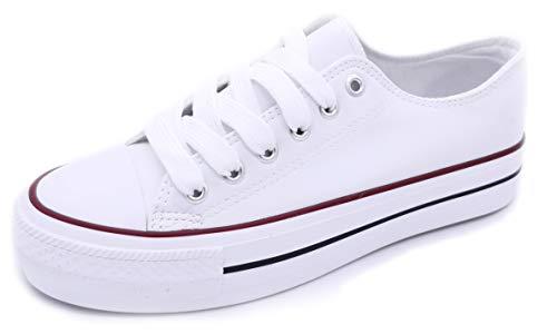 Zapatillas Blancas Negras Mujer con Plataforma Polipiel Zapatillas Suela Doble de Material Bambas Deportivas Plataforma Mujer Blanca 39