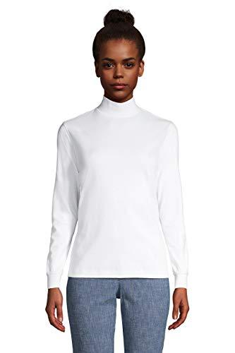 Lands' End Women Long Sleeve Relaxed Cotton Mock White Regular Large