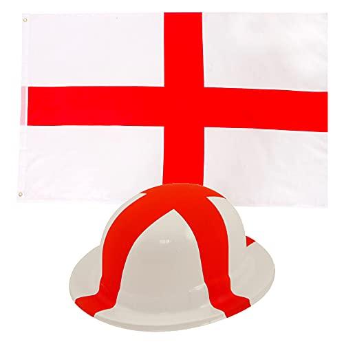 Juego de soportes deportivos de Inglaterra, 5 pies x 3 pies, bandera de cruz de San George, con bandera inglesa blanca y roja de plstico, para fanticos de ftbol para adultos