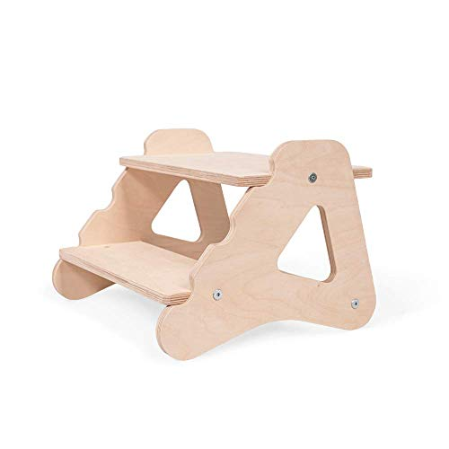 Kinder Tritthocker Zweistufig aus natürlichem Holz   modernes Design Stockerl für Kinder   Sicher und universell Kinderschemel 2 Stufen   100% ECO   Made in EU
