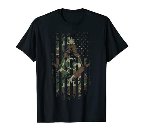 Mens Masonic American Flag Square and Compass - Freemason T-Shirt T-Shirt