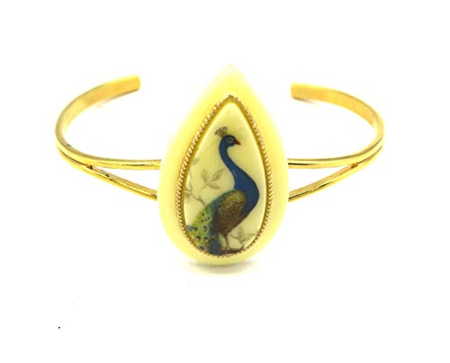 Pfau Damen Armreif goldfarben Modeschmuck Tier Motiv