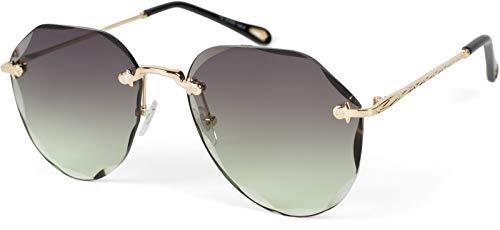 styleBREAKER 09020106 - Gafas de sol de estilo aviador sin marco con cristales tintados en corte diamante, patillas grabadas, lentes multiangulares, color Amarillo, talla Einheitsgröße