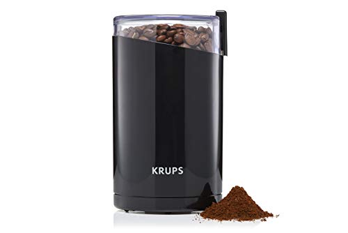 Krups F20342 Kaffeemühle und Gewürzmühle in Einem | Leistungsstarker Motor | Mahlgrad variabel | 75g Füllmenge | Schlagmesser aus Edelstahl | Sicherheitsdeckel | Anti-Rutsch-Füße | Schwarz