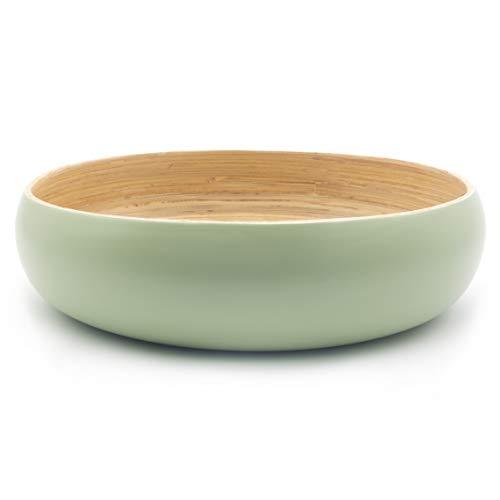 Dehaus® Groß Stilvolle Handgemacht Bambus Schüssel 30cm, als Obstschale, Salatschüssel oder Brotkorb, Obstkorb aus Holz, moderner Holzschale, große runde Schale (Salbeigrün)