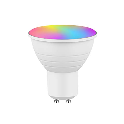Bluya XLB50 - Bombilla Led Wifi Inteligente GU 10 WiFi Regulable Lámpara Multicolor Bombilla Compatible con Alexa, Google Home Assistant y App Smart Life/Tuya, Equivalente a 32W RGB5W 350 Lm,
