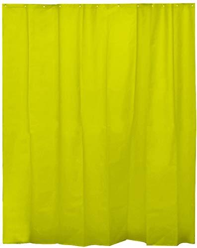 H HANSEL HOME Cortina de Ducha Lisa Verde para baño con 12 Anillas Incluidas, 50% Goma EVA y 50% de Polietileno (180 x 200cm)