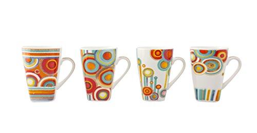 Crown Baccara Juego de tazas Porcelana 4 piezas, GARDEN 05, Medium, Blanco