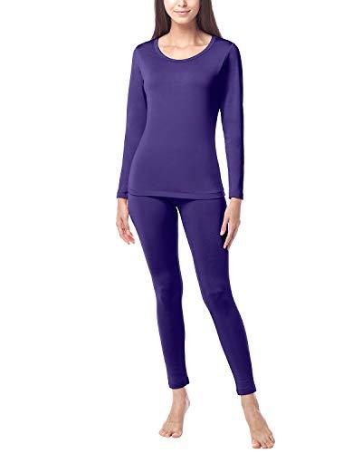 LAPASA Donna Set Termico - Ti Tiene al Caldo Senza Stress- T-Shirt Maniche Lunghe & Pantaloni Invernali Ultra Leggero L17 (Medium, Viola(Nuova Taglia))