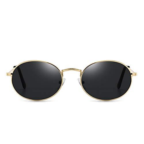 Dollger Oval Sunglasses for Women Vintage Metal Frame Glasses Anti Reflective Retro Eyeglasses Unisex Gray1