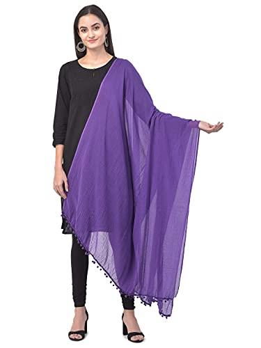 TEXCO Bufandas de moda de algodón liso Dupatta púrpura grande y ligero para mujer