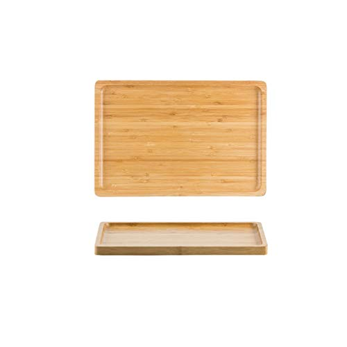 Platos de comida Bambú bandeja del desayuno de madera for uso doméstico, bandeja de té bandeja de madera comercial rectangular, bandeja de frutas restaurante Platos de cena pequeños ( Size : S )