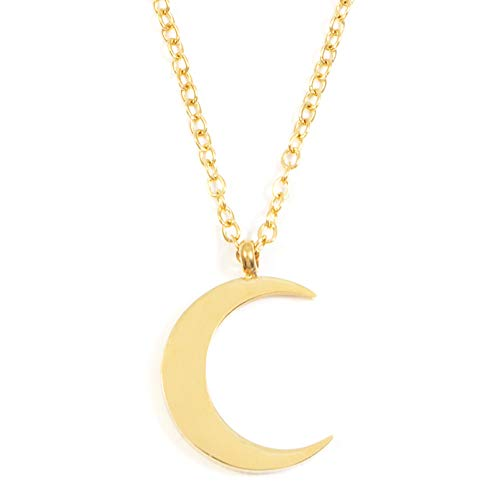 Happiness Boutique Women Half Moon Necklace Gold Colour | Delicate Crescent Moon Pendant Necklace Minimalist Design