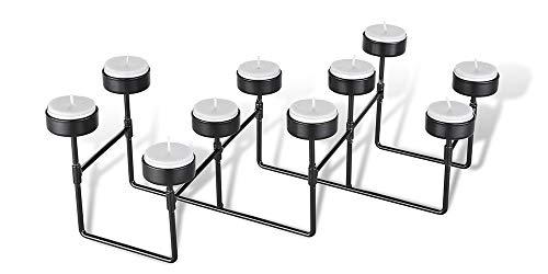 LIFA LIVING Teelichthalter schwarzes Metall, 10 Kerzenständer mit dehnbarem Konstrukt für besondere Anlässe im Wohnbereich, Vintage Industrie Stil