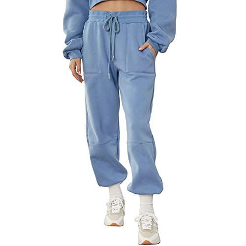 wenyujh Pantalones de deporte para mujer, de algodón, largos, para yoga, informales, sueltos, para gimnasio, entrenamiento, correr, calle. azul XL