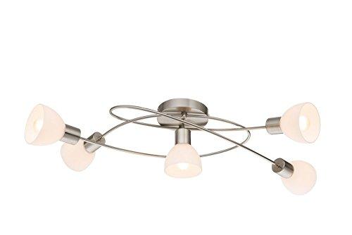 Deckenstrahler 5 flammig Decken Spot Deckenlampe Spots Strahler Flur Lampe Glas opal (Deckenleuchte, Deckenlicht, Schlafzimmer, Wohnzimmer Leuchte, Küche, 71 x 33 cm, Fassung 5 x E14)