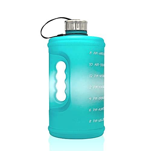 TreeLeaff Botella de agua con gradiente de plástico para viaje, con marcador de tiempo, boca ancha, reutilizable, a prueba de fugas, para senderismo, deportes al aire libre, 2,2 litros