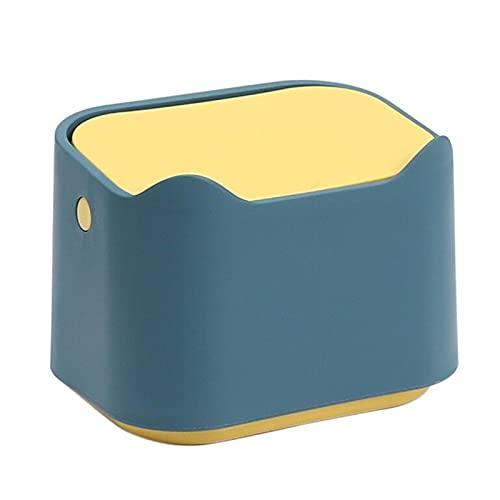 Cubo de basura para escritorio,mini cubo de basura de mesa portátil con tapa tipo prensa,cubo de basura de escritorio,soporte para caja de pañuelos para el hogar,oficina,cocina,dormitorio,baño Blue