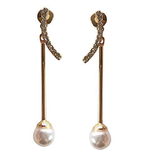 Yhhzw Pendientes Colgantes De Personalidad Pendientes Colgantes De Perlas Simuladas De Palo De Cristal Para Mujer