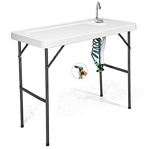 GYMAX Fish Table, Folding Camping Sink Table with Faucet, Spray Cleaner & Drain Hose, Outdoor Cleaning Wash Table